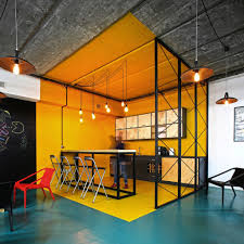 Office Kitchen Designs Office Office Kitchen In Bright Yellow With Industrial Style A