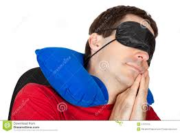 man with travel neck pillow and sleeping mask royalty free stock