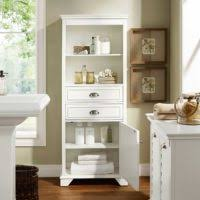 Tall White Linen Cabinet Bathroom Ceiling To Floor Brown Varnished Mahogany Wood Bathroom
