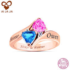 wedding rings with names aliexpress buy aijaja personalized 925 sterling silver