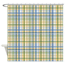 Blue And Green Shower Curtains Blue Green Yellow Plaid Print Shower Curtain By Printedlittletreasures