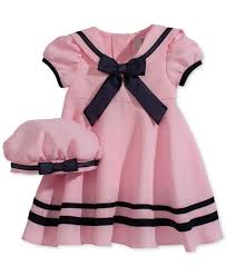 editions baby pink sleeve sailor dress hat