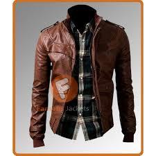 buy biker jacket buy men s slim fit biker dark brown leather jacket
