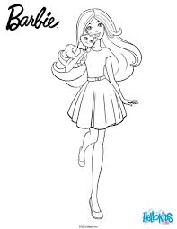 barbie with her cuddly kitty coloring pages hellokids com