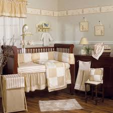 bedroom neutral baby bedding sets features brown wooden baby crib