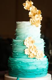 teal ombre and gold wedding cake pretty just need to take off