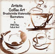 Artistic Coffee Abstract Coffee Cups Watercolor Hand Painted Elements Coffee
