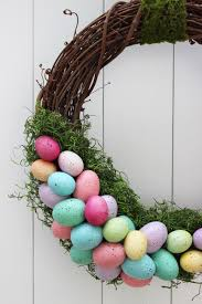 easter wreath for your door made with a grapevine wreath moss