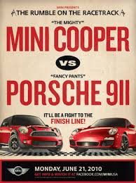 mini cooper porsche porsche refuses to race mini