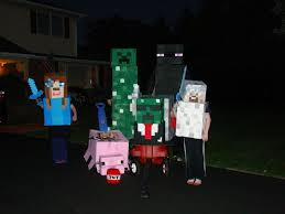 Minecraft Villager Halloween Costume 2014 Halloween Minecraft Group Costume Enderman Steve Creeper