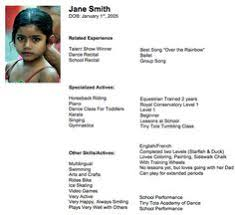 child actor resume format 21 special skills acting resume template