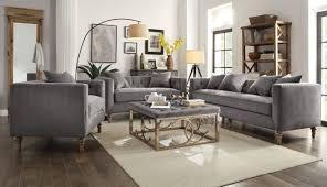 3 Pc Living Room Set Sidonia Gray Fabric Foam Solid Wood 3pc Living Room Set Living
