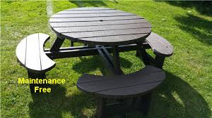 heavy duty round picnic table recycled plastic composite picnic table bench excalibur round 8 seat