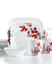 Corelle Dish Sets Corelle Kyoto Leaves Square 16 Pc Set Service For 4 Dinnerware