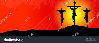 crucifixion jesus christ three crosses sunset stock vector