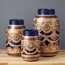 mason jar decor three bohemian style mason jars cobalt blue