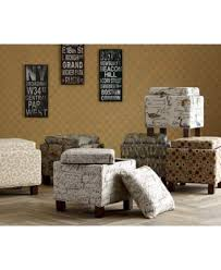 kylee bird fabric accent storage ottoman with pillows quick ship