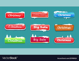 theme line winter set of winter theme web push button covered snow vector image
