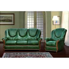 Green Leather Sofa by Genuine Italian Leather Sofa