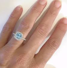 Aquamarine Wedding Rings by Cushion Cut Aquamarine Diamond Engagement Ring In 14k White Gold