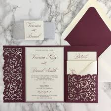 wedding invitation pocket lace flap laser cut pocket wedding invitation cz invitations