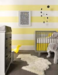 Gray And Yellow Nursery Decor Baby Nursery Decor Wall Stripe Colorful Bright Yellow And Gray