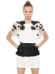 emanuel ungaro flower appliqués mesh u0026 knit sweater in black lyst