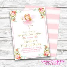 pink and gold fairy birthday invitation fairy princess