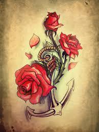 roses n anchor design tattooshunt com