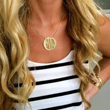 circle monogram necklace jordann jewelry classic circle block monogram necklace i