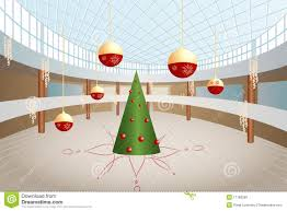 tree and big balls in shop royalty free stock images