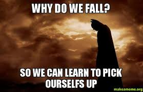 Fall Meme - why do we fall so we can learn to pick ourselfs up make a meme