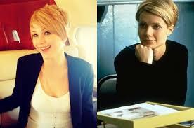 gwyneth paltrow sliding doors haircut compare contrast jennifer lawrence short hair vs gwyneth