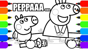 peppa pig night walk drawings and coloring book pages fun art