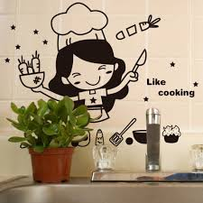aliexpress com buy happy kitchen girl like cooking wall sticker aliexpress com buy happy kitchen girl like cooking wall sticker cute wall art home decal decor kitchen tile wall stickers mural wallpaper from reliable