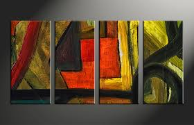 Abstract Home Decor 4 Piece Canvas Abstract Colorful Oil Painting Decor