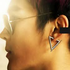 s mens earrings black triangle earrings for men large triangle earrings etsy