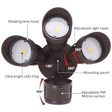3 head security light 30w 3 head motion activated led outdoor security light photo sensor