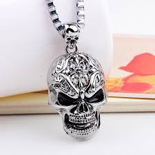 halloween jewelry skull link chain necklaces for male necklace men