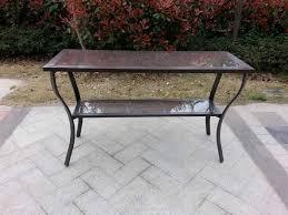 Black Cast Aluminum Patio Furniture Console Tables Cast Aluminum Outdoor Console Table Metal Get