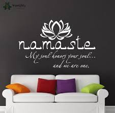 wall decal vinyl sticker namaste quote buddha lotus flower bedroom wall decal vinyl sticker namaste quote buddha lotus flower bedroom yoga studio removable wall decor mural wall art design ww 381 in wall stickers from home