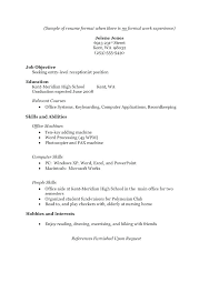 word processing skills for resume resume for no experience sample resume objective surprising