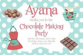 10 personalised chocolate sweet making party invitations birthday