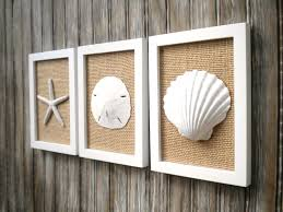 Home Decor Wall Art Cottage Chic Set Of Beach Decor Wall Art Sea Shell Home
