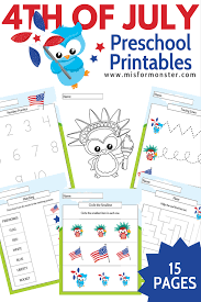 free fourth of july printable activity pack for toddler through
