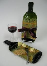 flattened wine bottle platter tapena melted wine bottle cheese tray with cheese spreader