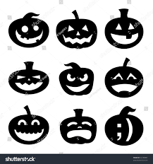 happy halloween sign black and white halloween decoration jackolantern silhouette set carved stock