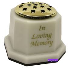 Memorial Vases For Graves Uk Memorial Square Grave Vase White Gold In Loving Memory Amazon Co