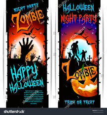 Halloween Banners by Vector Halloween Zombie Party Banners Message Stock Vector