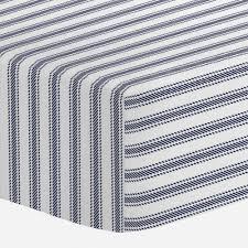 windsor navy ticking stripe crib sheet carousel designs